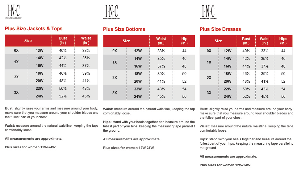 Inc international concepts plus size charts via macys brand names chart also name rh pinterest