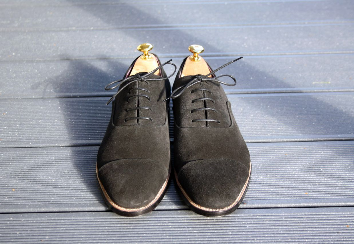 Stitched & Reversed Cap toe for VR - Black Januscalf Suede - Hiro Last - Custom pattern - Undyed welt