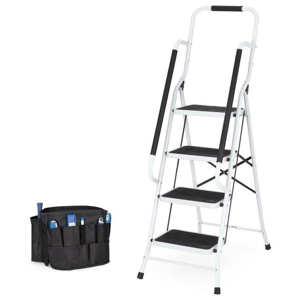 Remarkable Safety Portable Folding 4 Step Ladder Steel Stool Heavy Duty Pabps2019 Chair Design Images Pabps2019Com