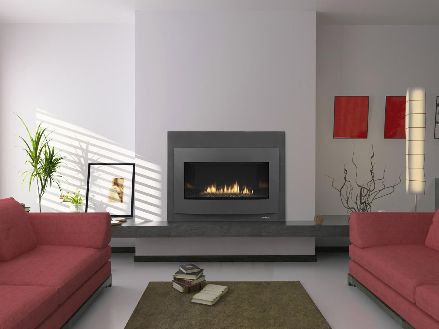 Modern Interior 3d Rendering Contemporary Fireplace Designs