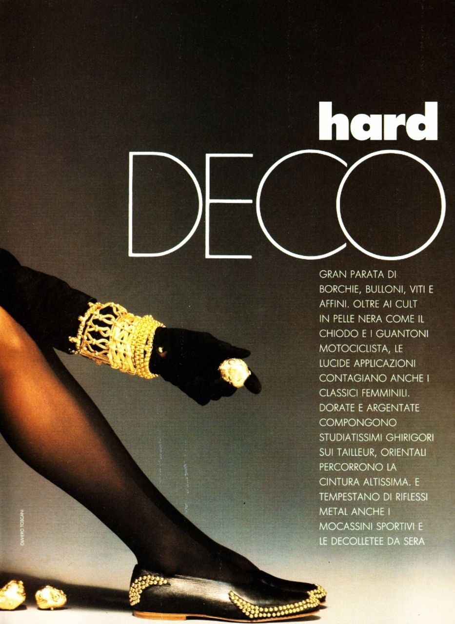 ELLE Italia January 1990 Hard Deco Ph: Oliviero Toscani Model: Meghan Douglas Hair: Aldo Coppola Makeup: Lloyd