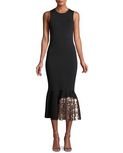 f7fcaf4b004e4 Sachin   Babi Noir Pepenella Sleeveless Knit Gown w  Sequin Hem
