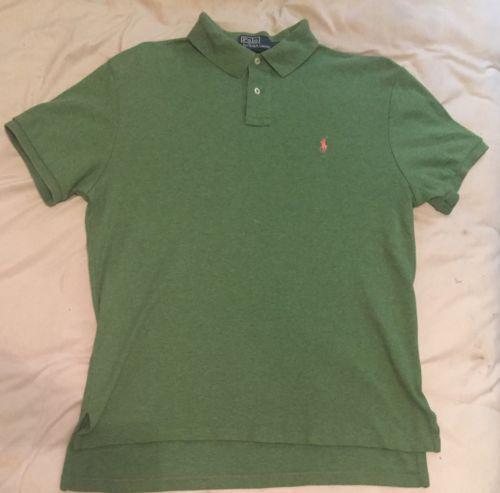 Designer Polo by Ralph Lauren Mens Green casual dress Shirt Custom Fit LARGE GUC