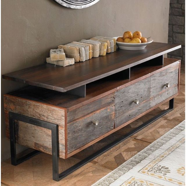 A Collection Of Reclaimed Furniture Simple Lines Mix Of Wood Metal Sleek Rough Textures Modern Rustic Design Muebles Estilo Industrial