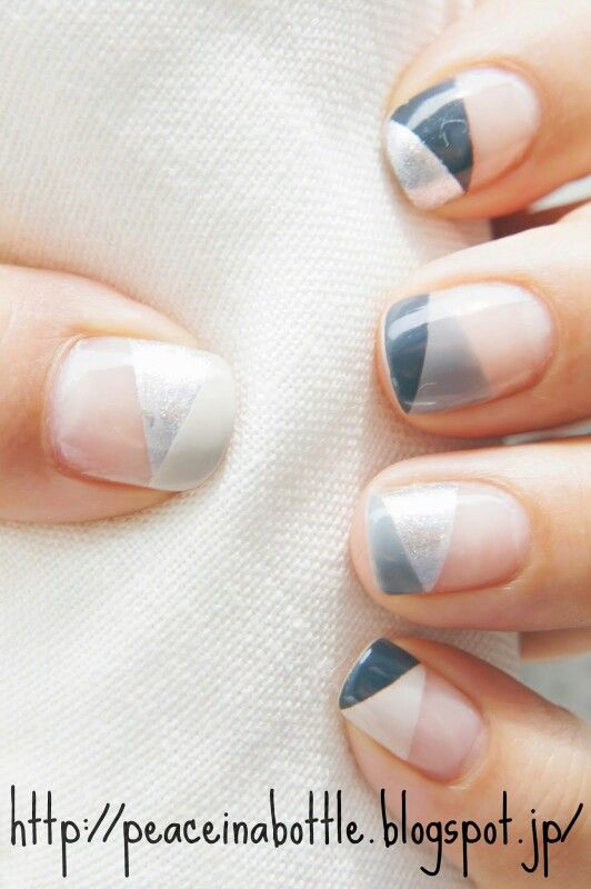 Geometric french | Nails | Pinterest | Manicure, Makeup and Nail nail