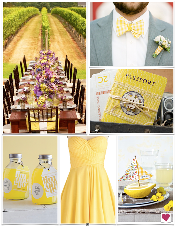 Yellow bridesmaid dress! Lemony Yellow, Purple & Gray ...
