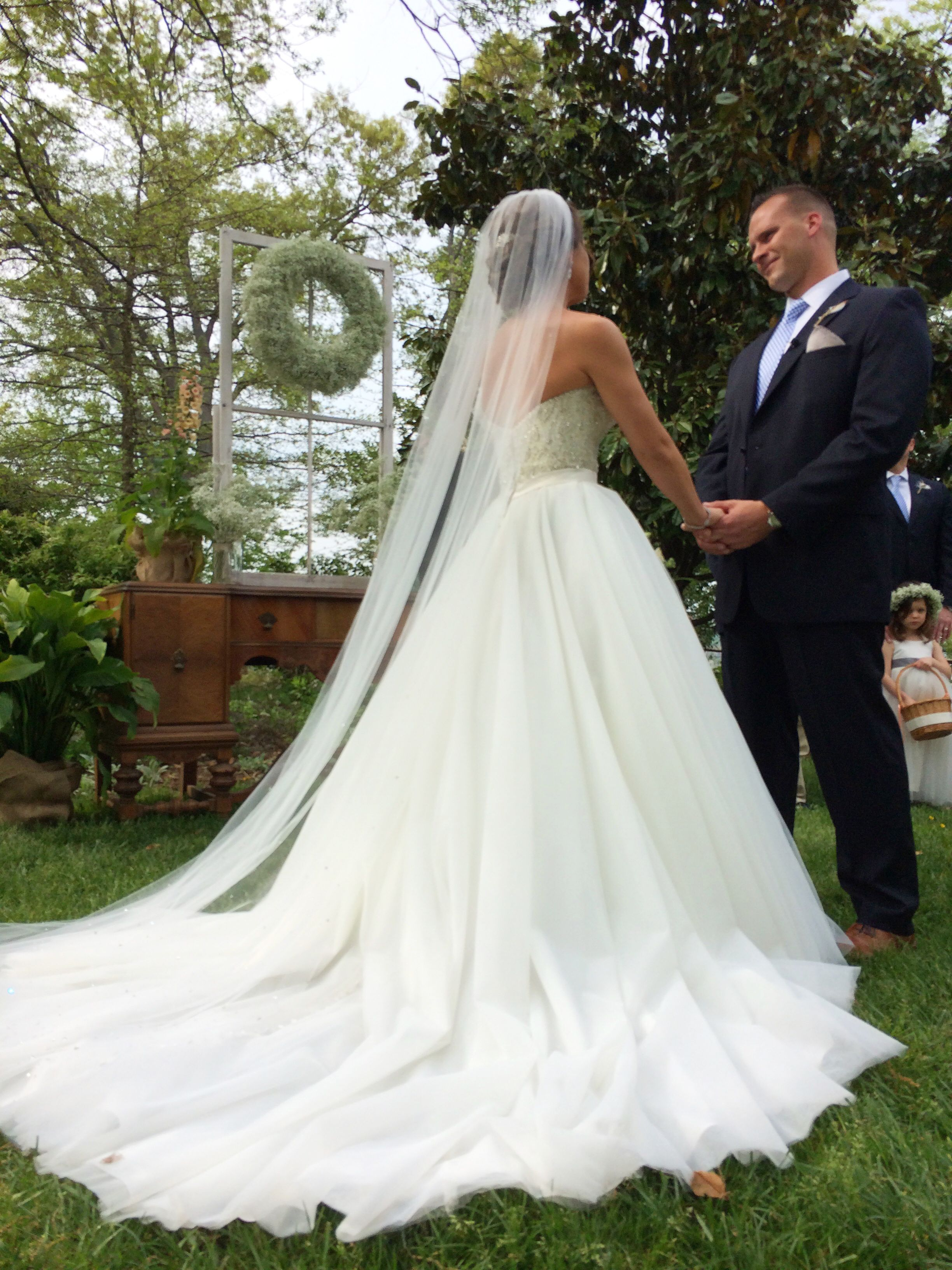 Allure Bridal Princess Wedding Dress Long Train Veil Sparkly Perfection Garden Outdoor Ballgown