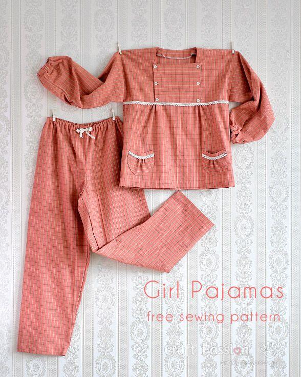 Girl Pajamas - 5 to 12 years old - Free Sewing Pattern | Pyjamas ...