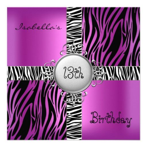 18th Teen Birthday Party Zebra Pink Black Silver 2 Card Teen