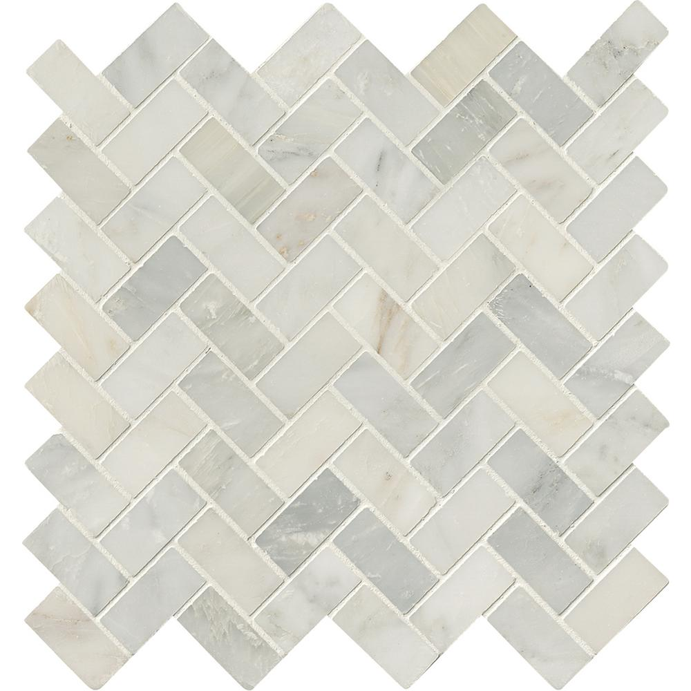 Ms International Arabescato Carrara Herringbone Pattern 12 In X 12 In X 10 Mm Honed Marble Mesh Mounted Mosaic Ti Honed Marble Stone Mosaic Tile Mosaic Tiles