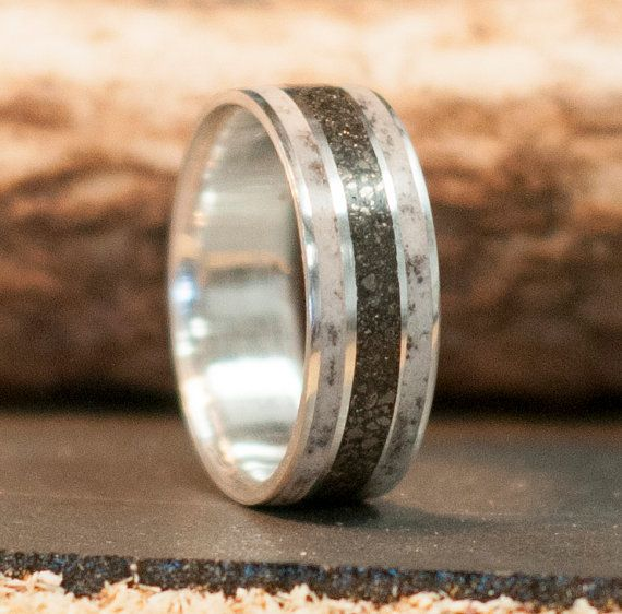 Custom Made Mens Wedding Band Antler Ring With Iron Ore Inlay Other Inlays Available