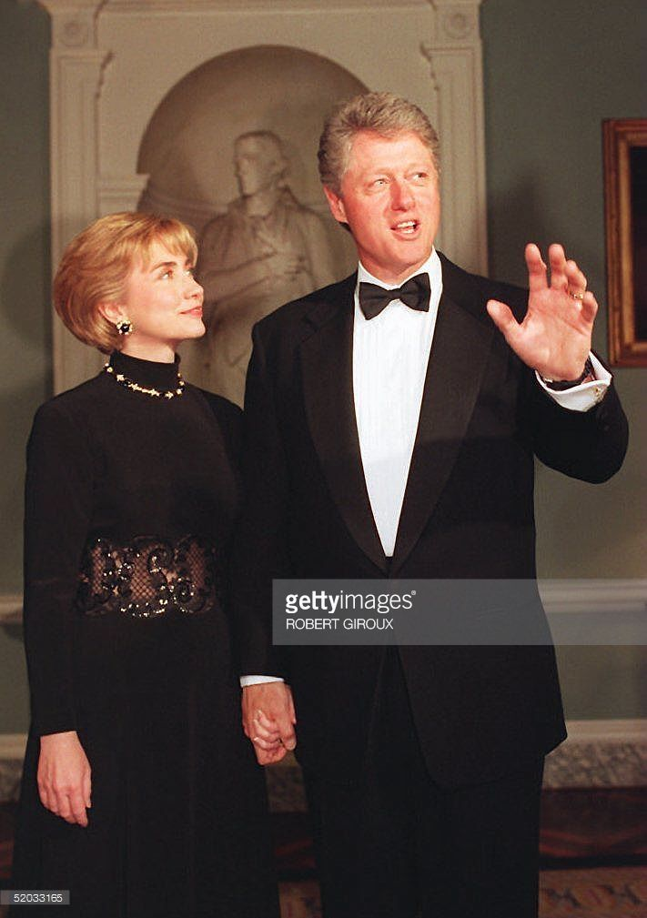 US President Bill Clinton and First Lady Hillary R