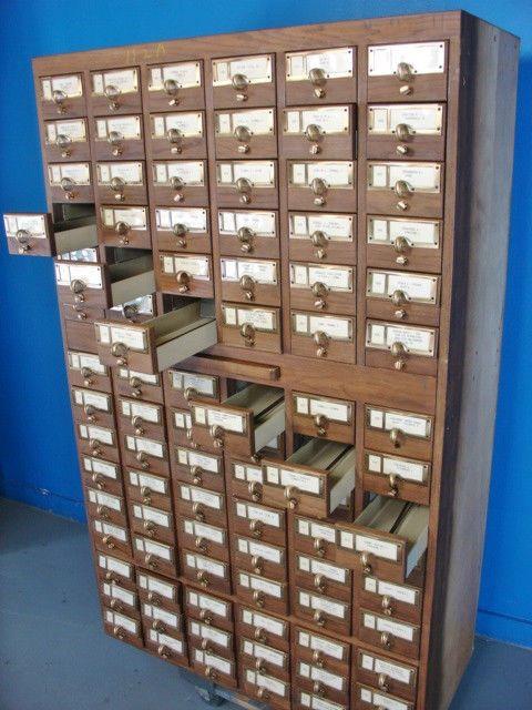 Vintage 90 Drawer Wooden Card Catalog Cabinet Library Card File