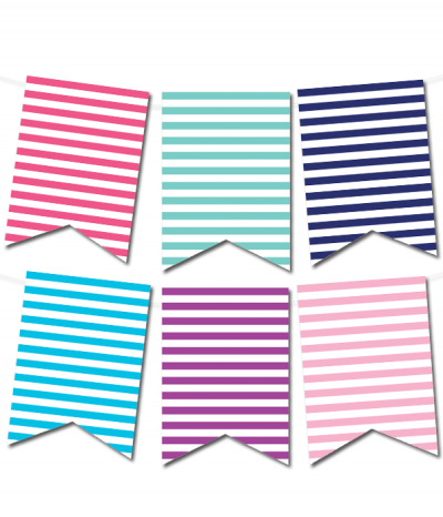 Free Printable Striped Pennant Banner From PrintablepartydecorCom