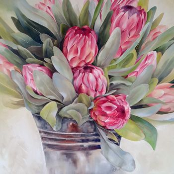 A Bucket Full Oil On Canvas 62cm X 62cm Painted In May 2015 Painted By Ellie Eburne Protea Art Flower Art Floral Art
