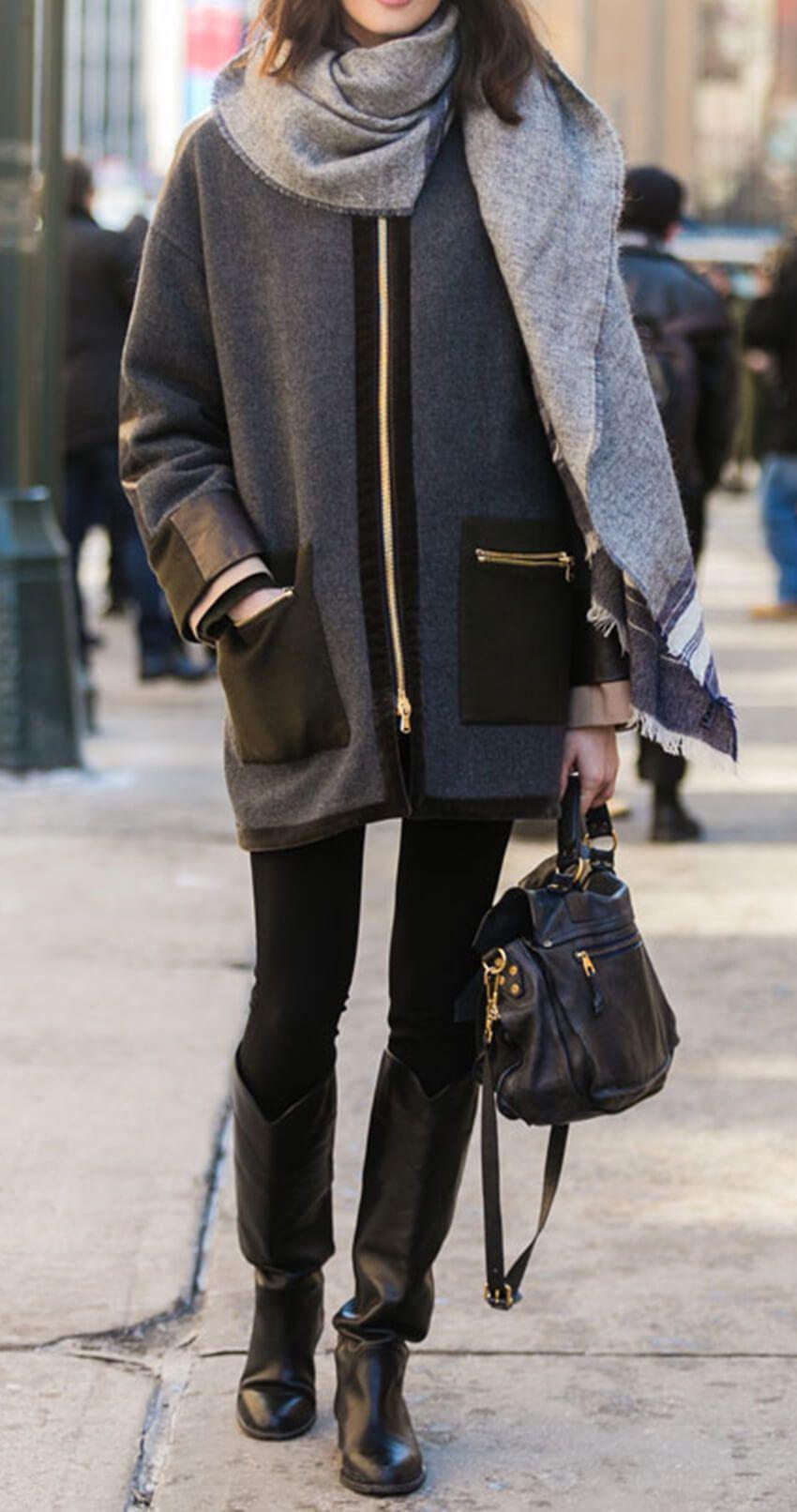 Get the Look – Chapeau Noir, Manteau Gris, Bottes Noires