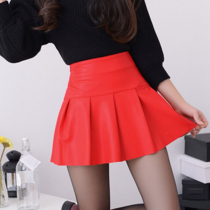 free shipping new high waist good quality leather skater flare skirt mini  skirt above knee solid