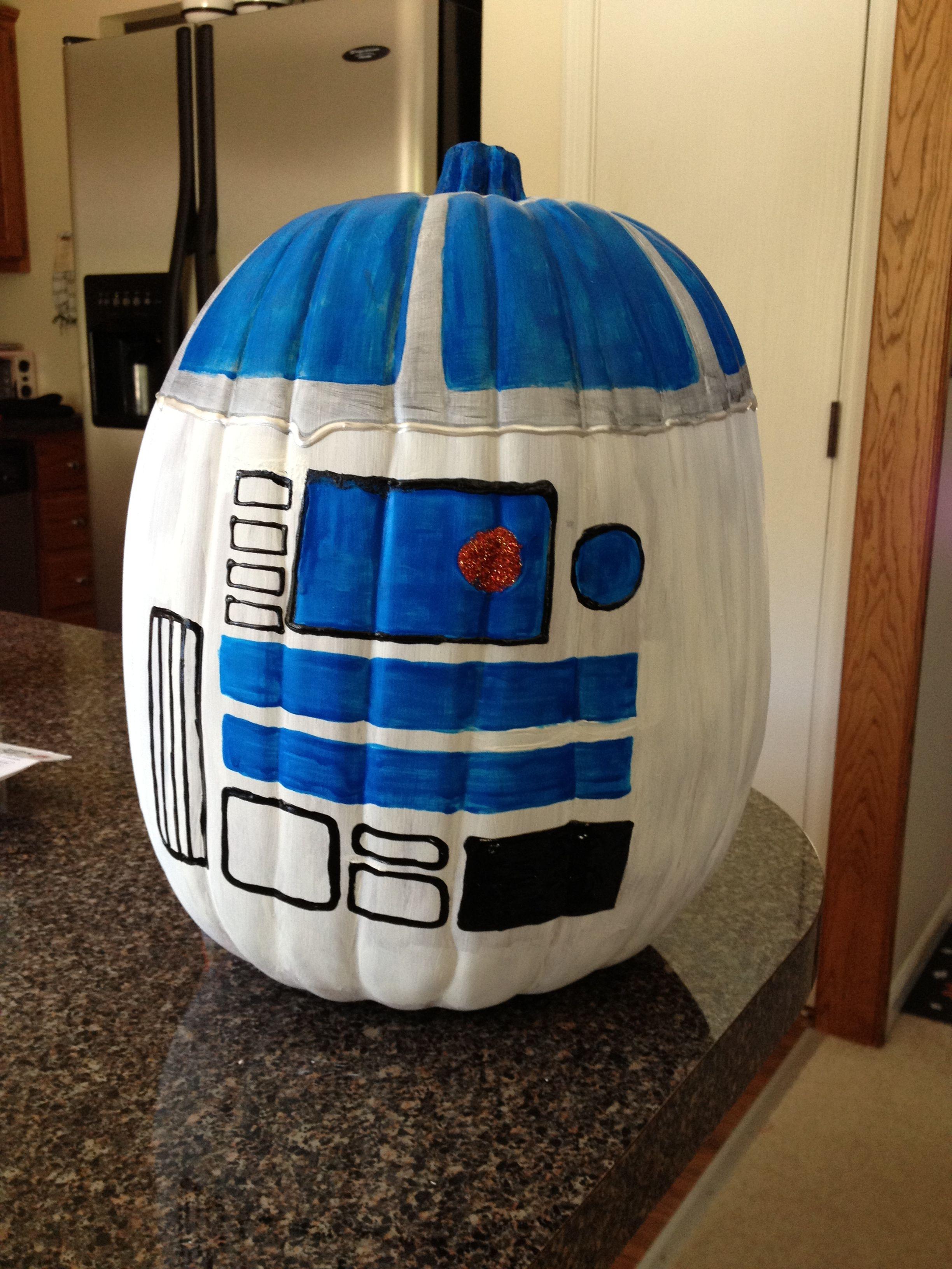r2d2 painted pumpkin star wars halloween jack o lantern pinterest calabazas. Black Bedroom Furniture Sets. Home Design Ideas