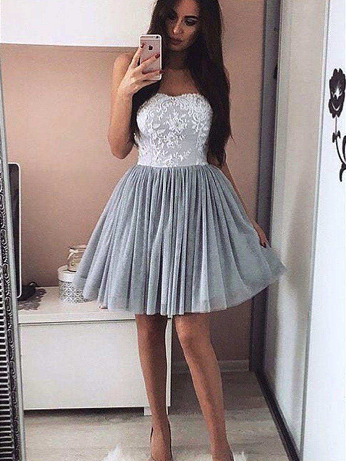 4b5443e17b0 A-line Sweetheart Neck Strapless Appliques Mini Homecoming Dresses ASD27069