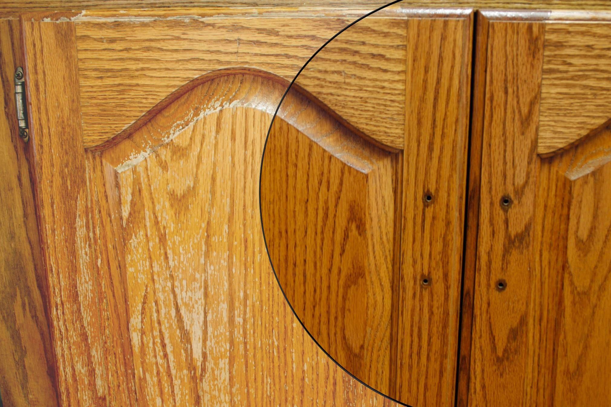 Restoring Water Damaged Oak Cabinets Nhance Can Bring Your Old Kitchen Back To Life Oak Cabinets Refinishing Cabinets Wood Refinishing