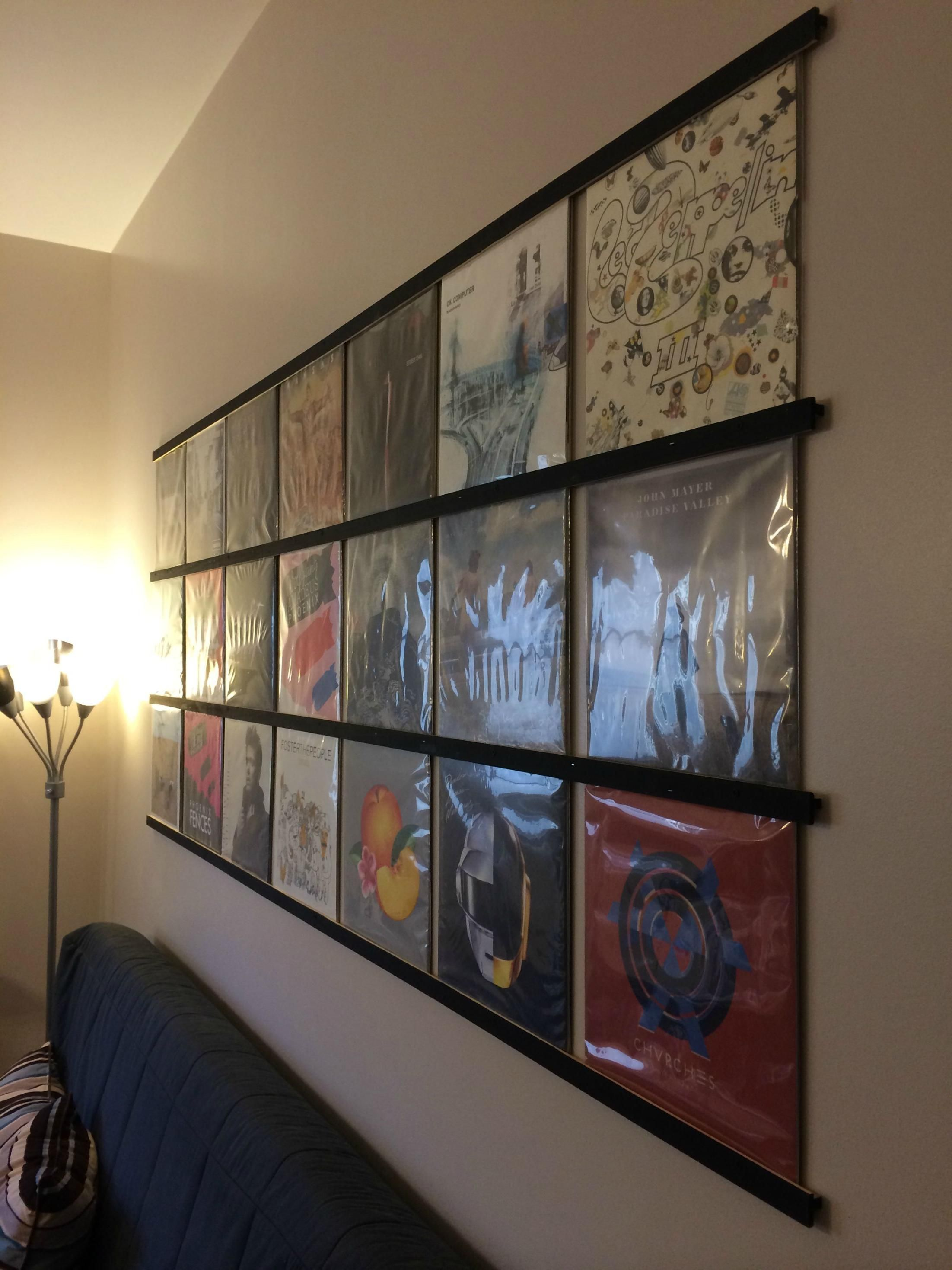 Staggering Display Vinyl Records On Wall Vinyl Storage Record Room Dj Room