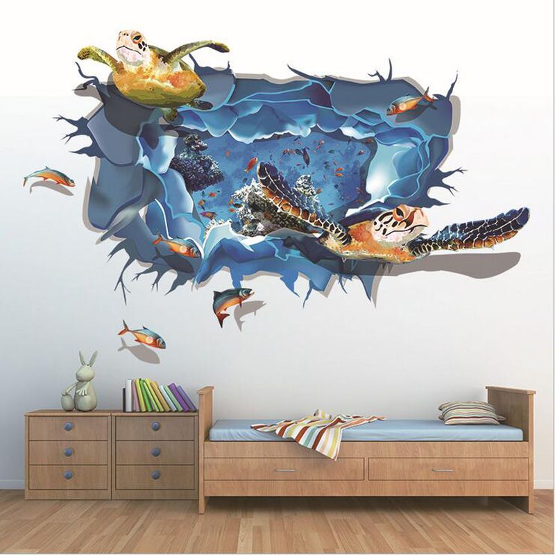 10570cm 3d Ocean Stickers Turtles Diy Personalized Furniture