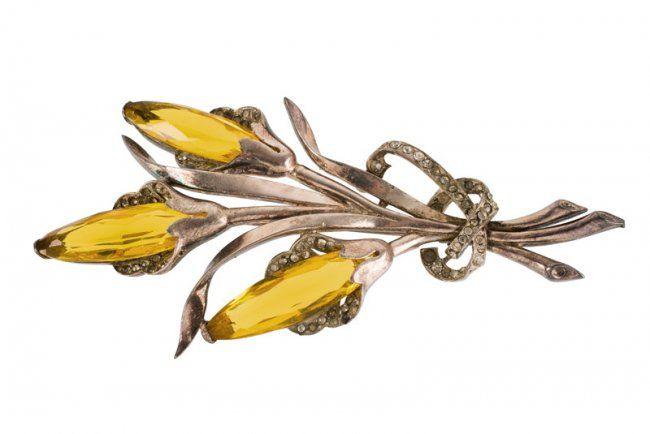 A Mazer silvertone floral brooch, set with orange : Lot 1604