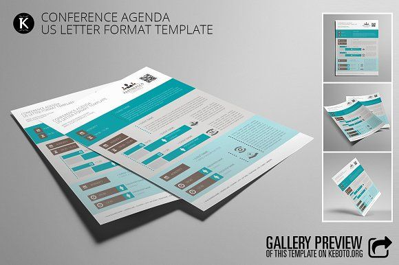 Conference Agenda US Letter by Keboto on @creativemarket Templates