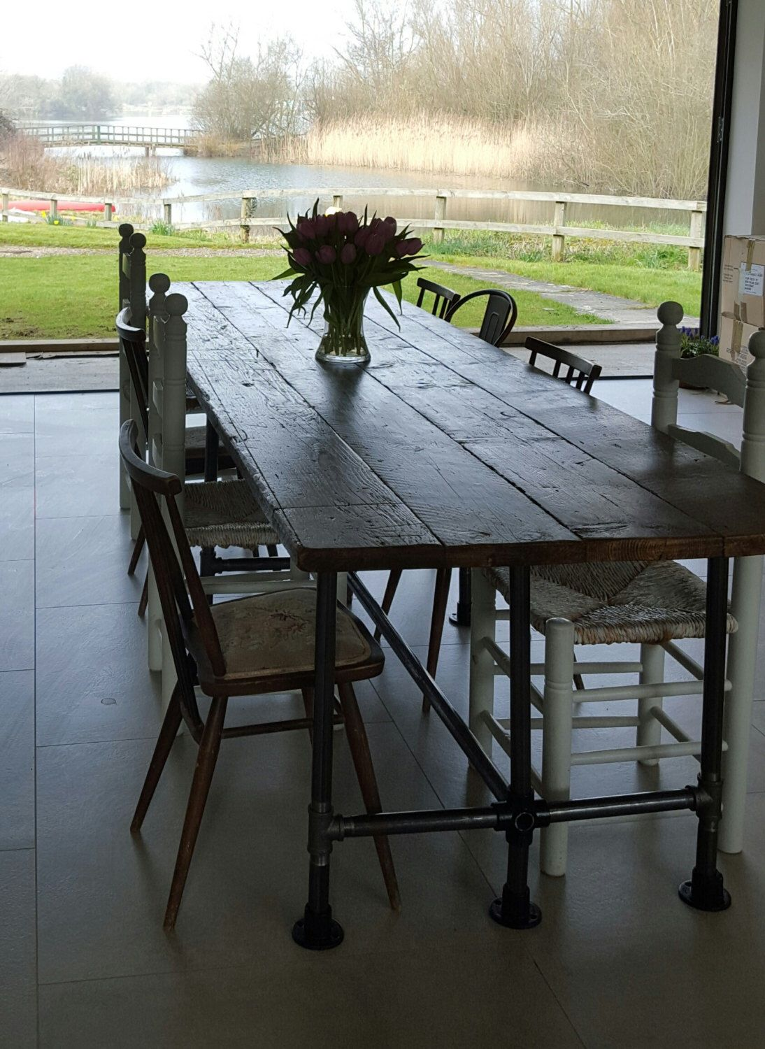 reclaimed dining room table. Reclaimed Dining Table Gas Pipe Large Scaffold Vintage Industrial By Breuhaus On Etsy Https:/ Room A