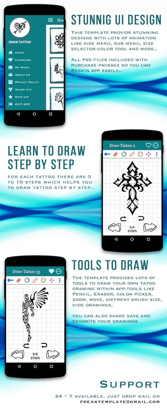 How to draw Tattoo Android Full Application | Scripts