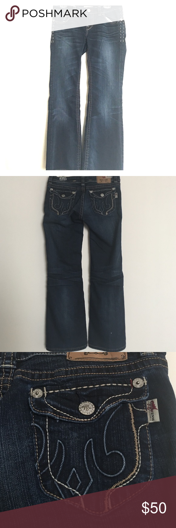 MEK Noida Bootcut Jeans Size 29 Love these stitched MEK bootcuts! A bit of sass and a bit of class, these are perfect to wear with heels or sneakers.  With a dark wash and button back pockets, these jeans are sure to wow! MEK Jeans Boot Cut