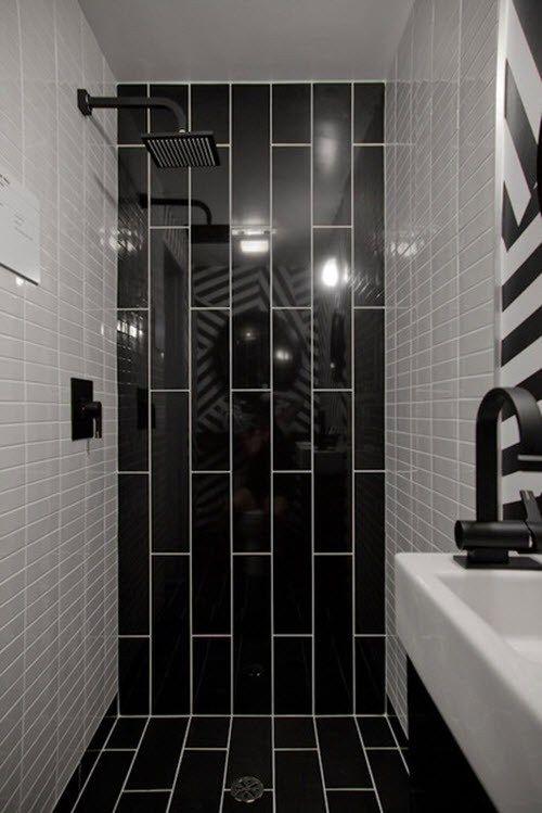 75 Bathroom Ideas Black Tiles Rekonstrukciya Dushevoj Nebolshie Vannye Komnaty Malenkaya Vannaya Komnata