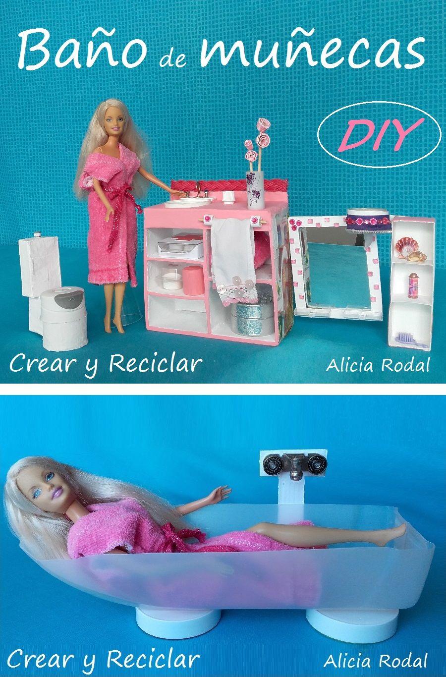 Decorando La Casa De Munecas Bano De Barbie Manualidades Para