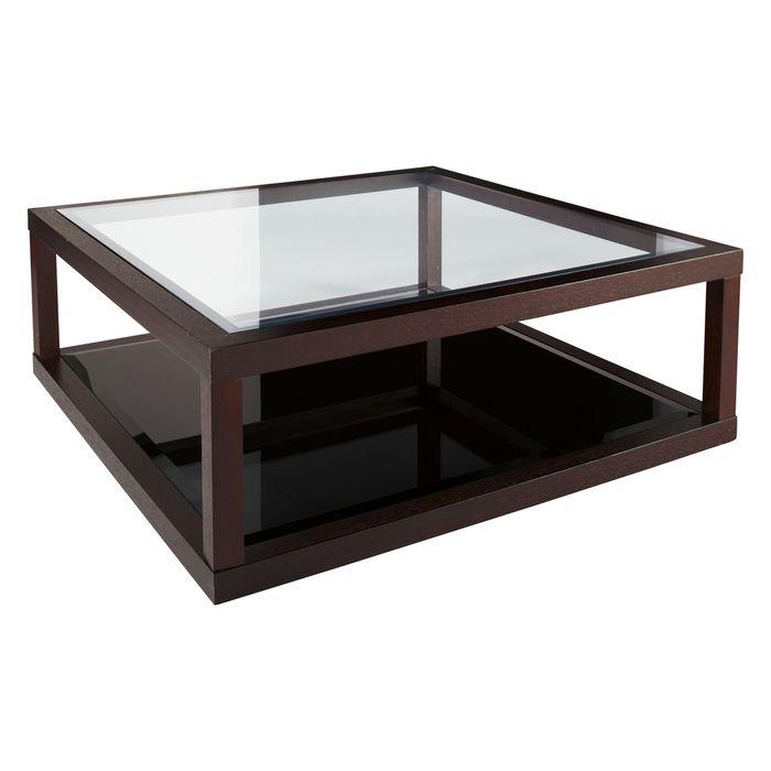 dark oak frame glass coffee table
