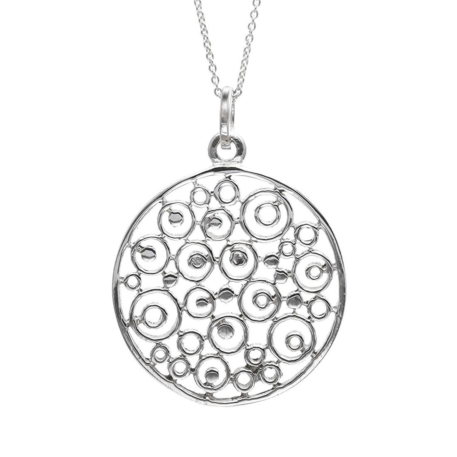 Silverly Women's .925 Sterling Silver Filigree Faberge Locket Chain Necklace, 46 cm