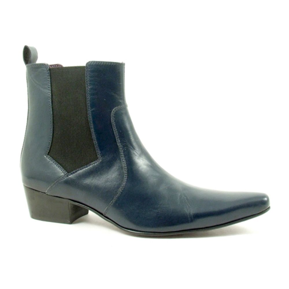 Lovely leather cuban heel navy chelsea boots for men. Designer footwear  with many colours in mens cuban heels to choose from. 9fe66781a90