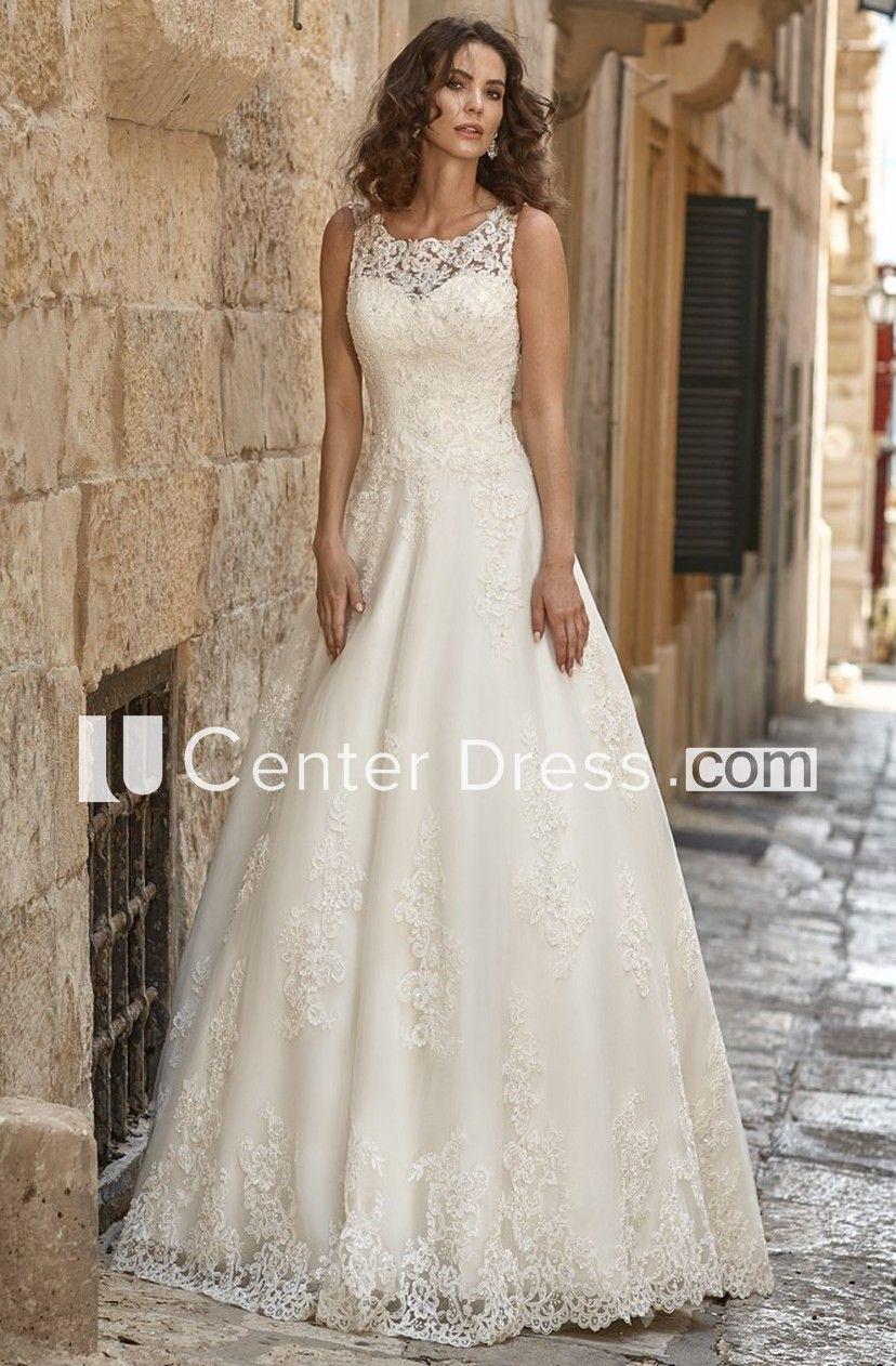 2999a1dc4af A-Line Long Appliqued Scoop-Neck Sleeveless Lace Wedding Dress - UCenter  Dress