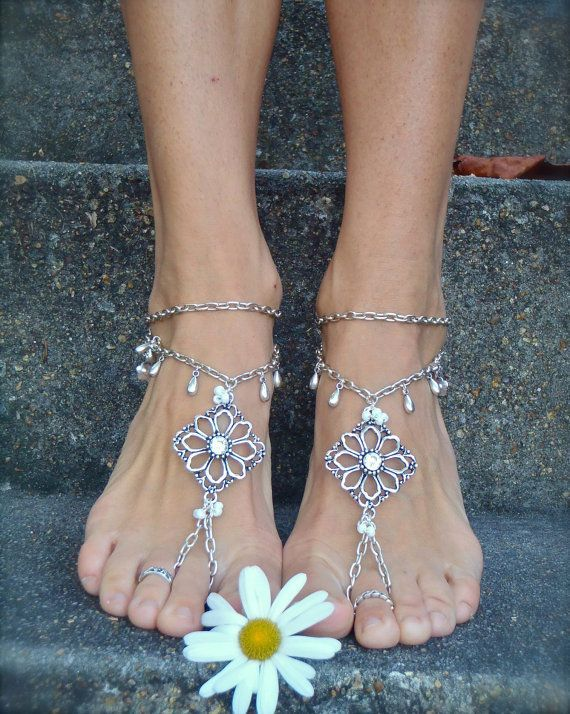 Silver WEDDING BAREFOOT SANDALS Chain sandals bridal foot jewelry