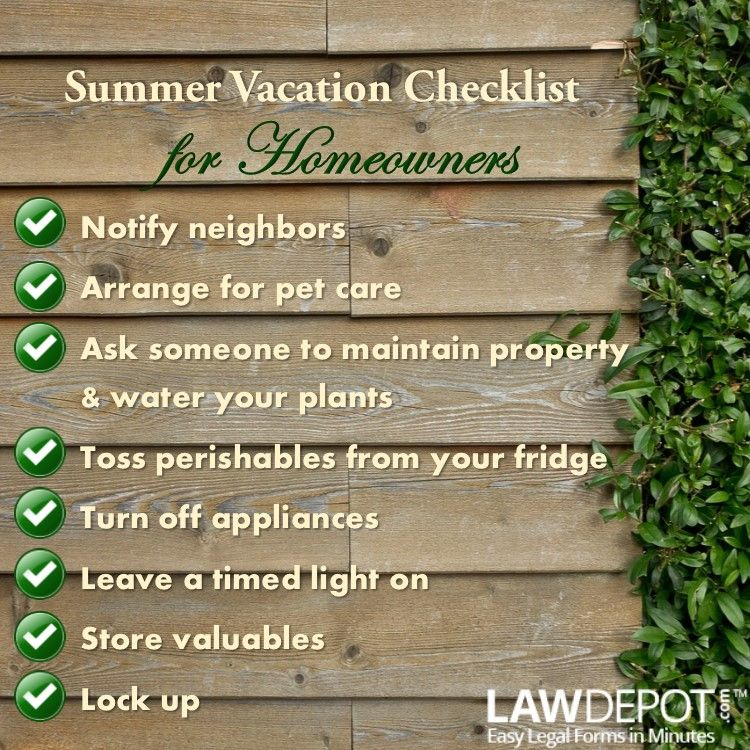 Checklist: Summer Vacation Checklist for Homeowners