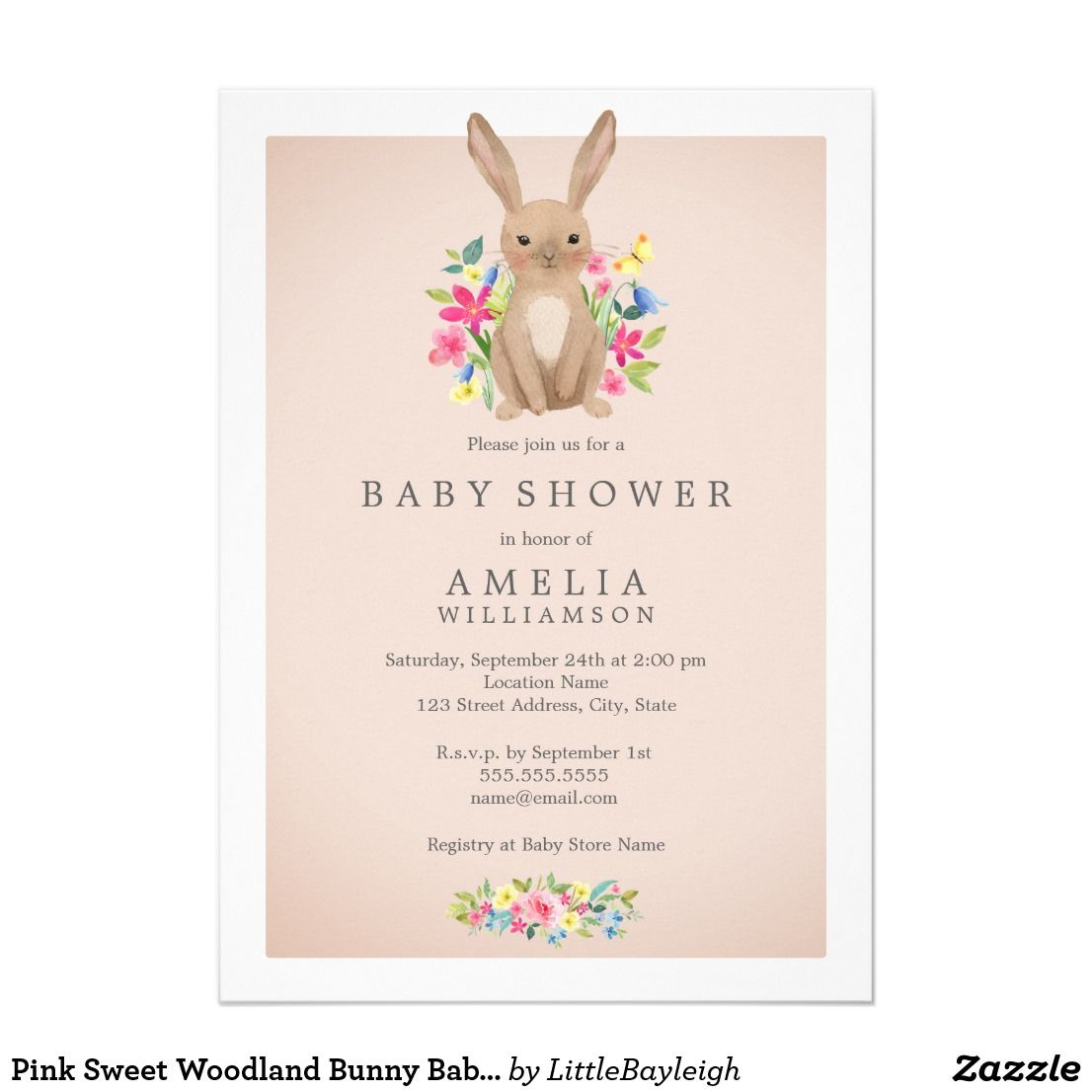 Pink Sweet Woodland Bunny Baby Shower Invitation | Baby Shower ...