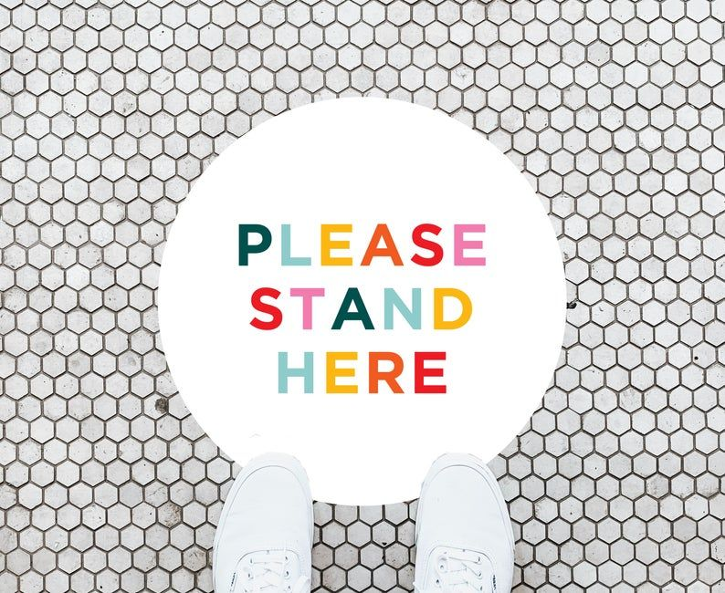 Colorful Please Stand Here Social Distance Vinyl Floor