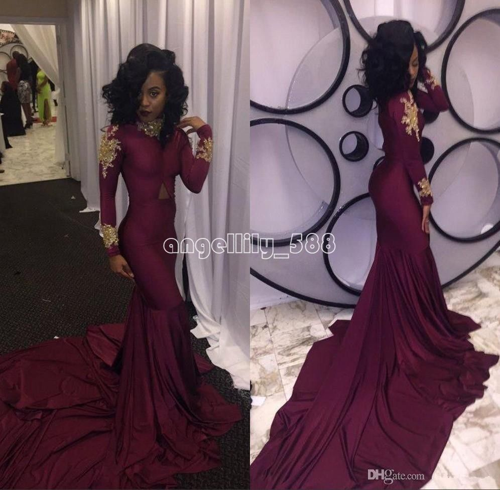 Cool great burgundy mermaid prom evening dresses long sleeve gold