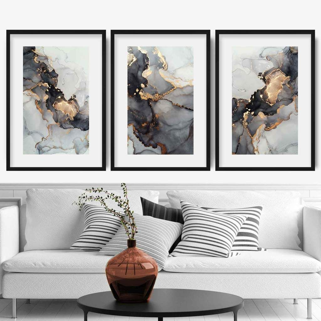 Set Of 3 Abstract Art Prints Of Paintings Black Grey And Gold Artze Wall Art Grey Wall Art Abstract Wall Art Living Room Gold Abstract Painting