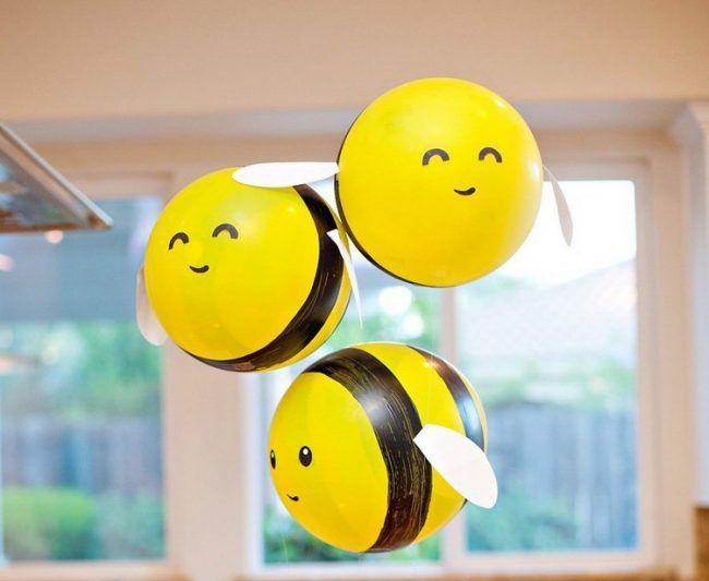 .bumblebees ➡ balloons!  biene-basteln-luftballons-bemalen.