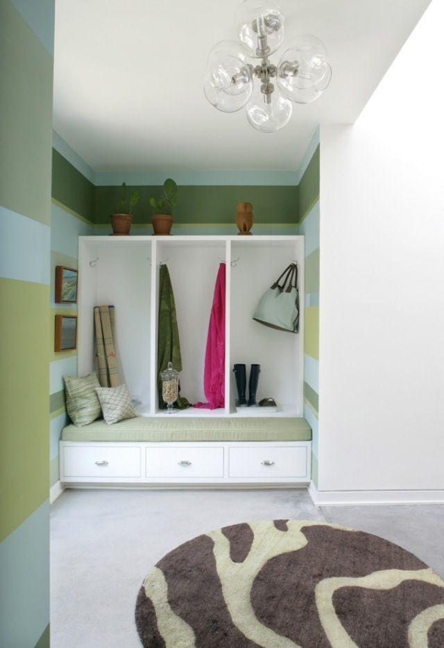 Streifen Wand Streichen Ideen Flur Garderobe Sitzbank
