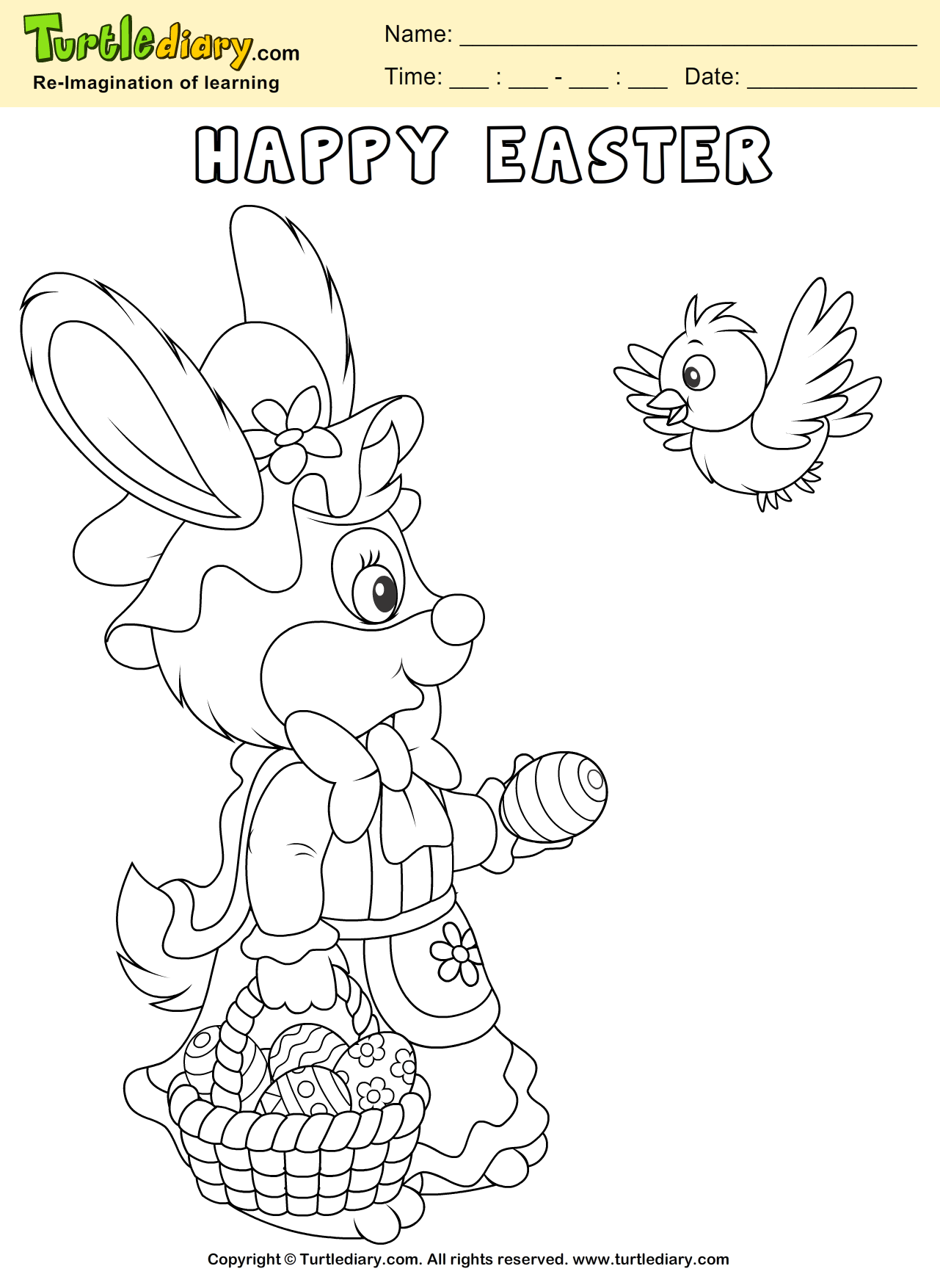 Easter Bunny And Bird Coloring Page