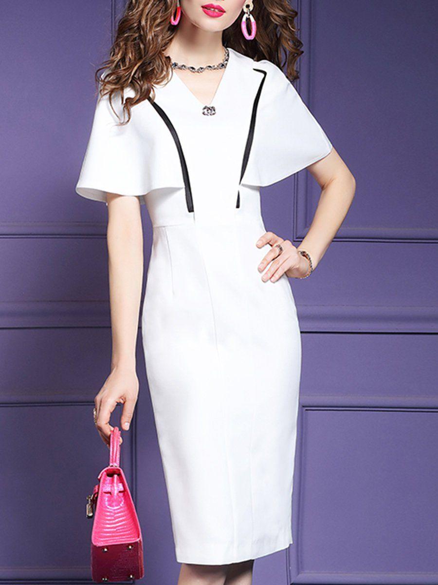 631db2db Stylewe Summer Dresses 1 Sundress Work Bodycon V Neck Zipper Elegant Short Sleeve  Dresses