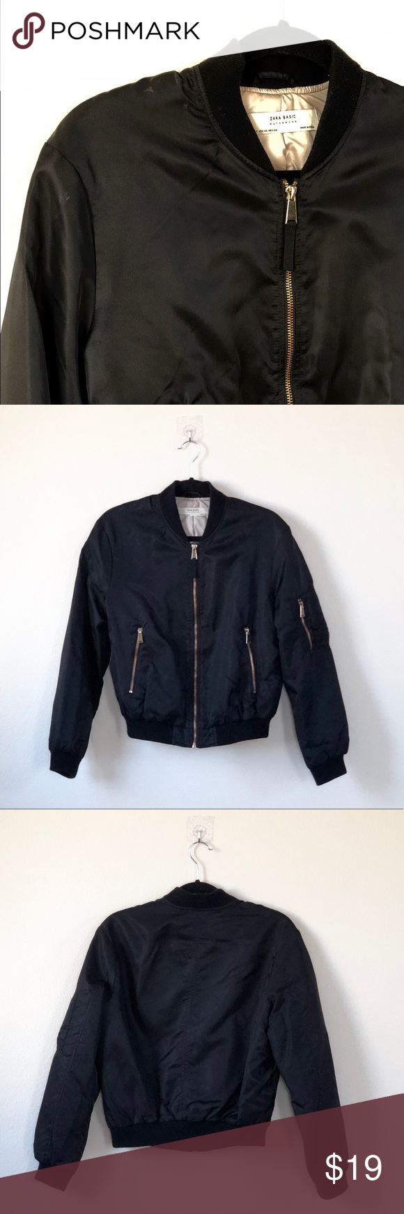 Zara Women Black Bomber Jacket With Gold Detailing Black Bomber Jacket Bomber Jacket Jackets [ 1740 x 580 Pixel ]