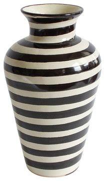 Especial Striped Vase Contemporary Vases By Emilia Ceramics Black And White Vase Striped Vase Transitional Vases