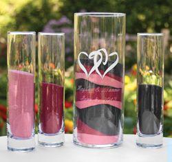 Linked Hearts Unity Sand Vases | Unity Ceremony Sand Vases